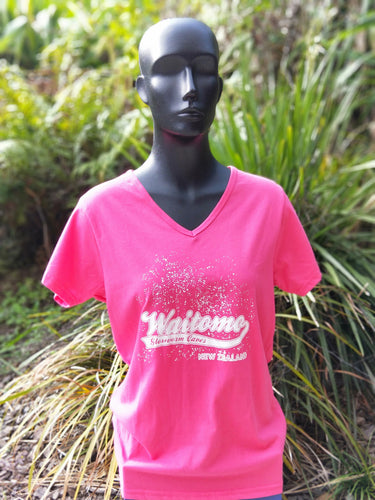 Ladies V Neck Tshirt Pink WGC