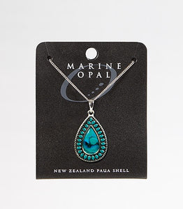PJS131 Necklace Turquoise Double Teardrop