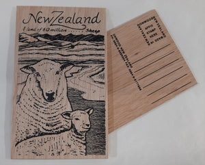 On1/3 Sheep Wooden Postcard