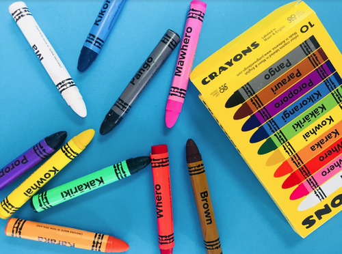 Crayons in Te Reo Maori and English 10 pack
