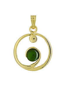 GO590 Gold Greenstone Eternity Pendant