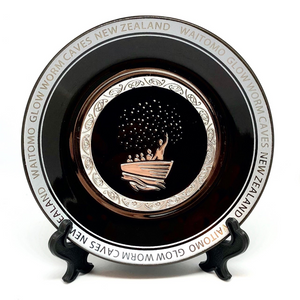 Waitomo Glowworm Caves Ceramic Plate with display stand