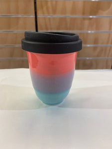 Glazed Red/Blue Lines Take-Away Cup 12oz