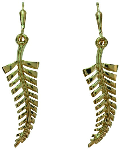 PE237 Gold Silver Fern Earrings