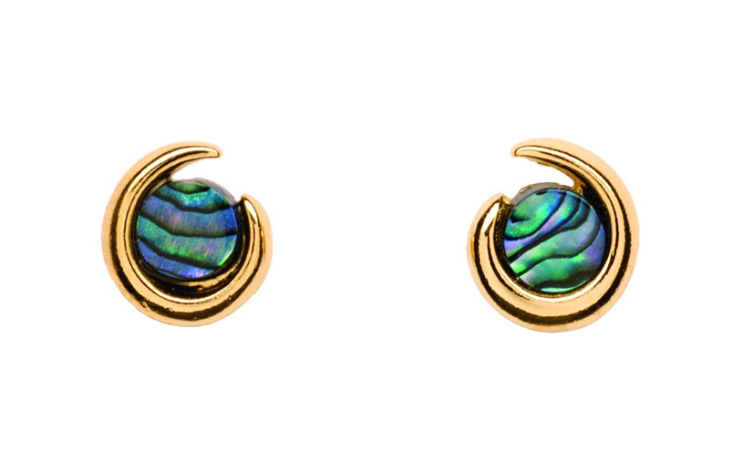 PE489 Paua Gold Koru Stud Earrings