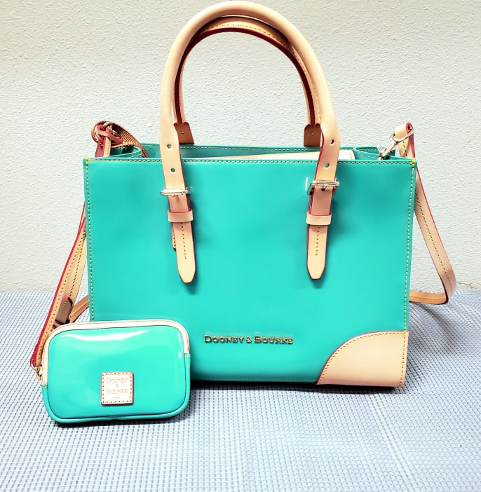 Turquoise Dooney and Bourke Patent Leather Purse