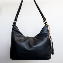 Load image into Gallery viewer, Black Leather Hobo Convertible Crossbody Shoulder Bag