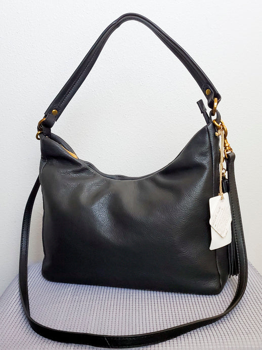 Black Leather Hobo Convertible Crossbody Shoulder Bag