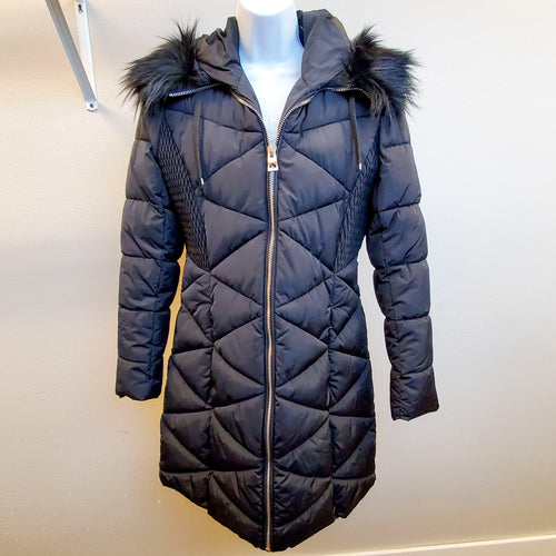Guess Black Puffy Long Winter Coat