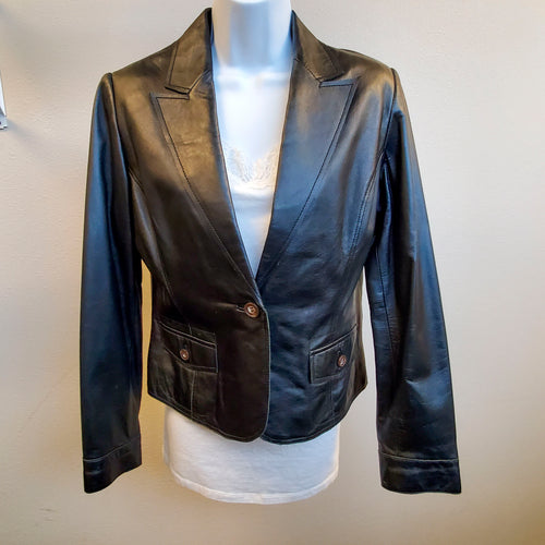 Black Leather Buttoned Blazer Jacket Medium