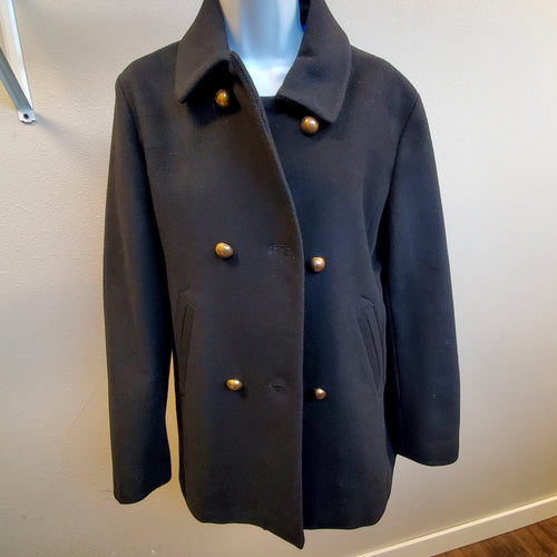 Double Breasted Black Long Wool Winter Coat Liz Clairborne Medium