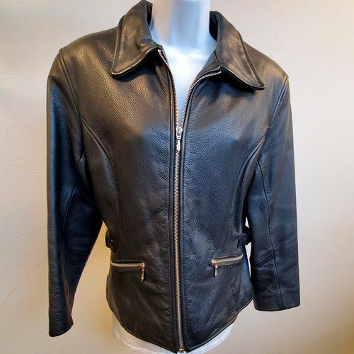 Wilsons Black Leather Coat Womens Medium