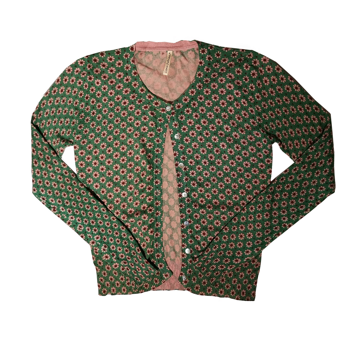 Green and pink flower cardigan