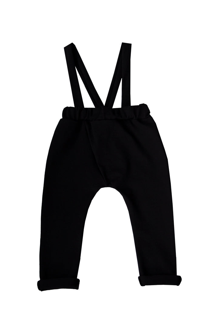 POIU SUSPENDERS PANTS, BLACK