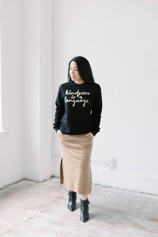 KINDNESS IS A LANGUAGE 4.0 Crewneck Sweater (Black w/ Gold)