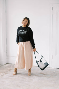 STAND UP FOR YOUR SISTERS Crewneck Sweater (Black w/ Light Blush)