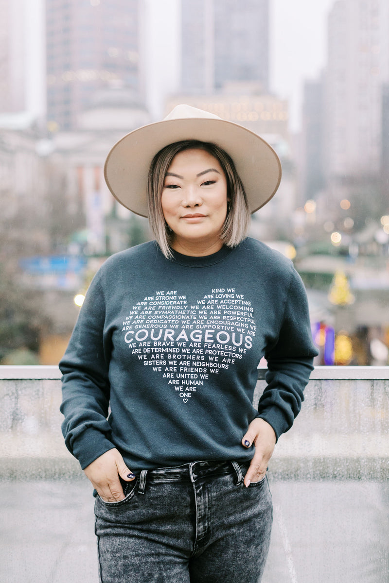 COURAGEOUS Crewneck Sweater (Charcoal)