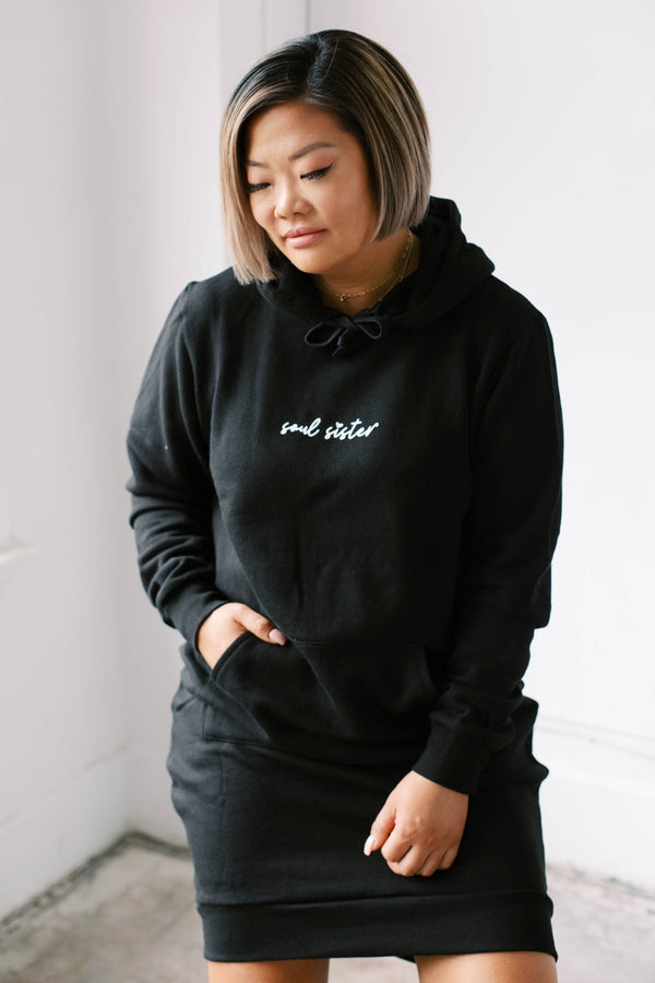SOUL SISTER Hoodie Sweater Dress (Black)