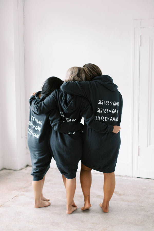 SISTER GANG Hoodie Sweater Dress (Charcoal)