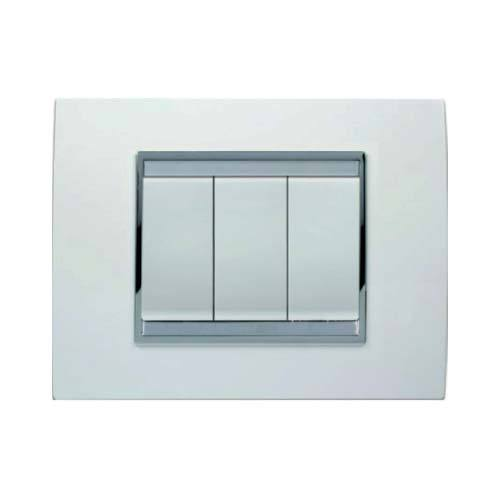 Gewiss Chorus Lux 3 Lever Light Switch - Milk White