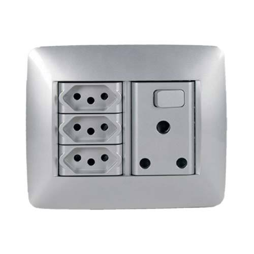 Gewiss Chorus One Single Switched RSA with 3 x V-Slim Socket Outlets - Titanium