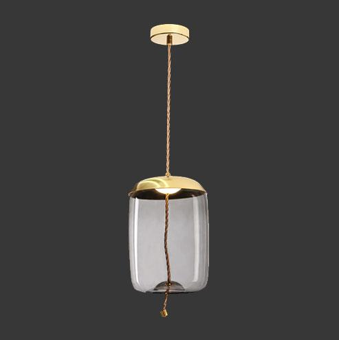 LED Bee Hive Pendant - Gold with Smoked Glass & Rope