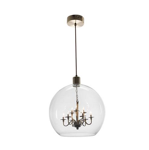 Satin Brass Pendant with Clear Glass