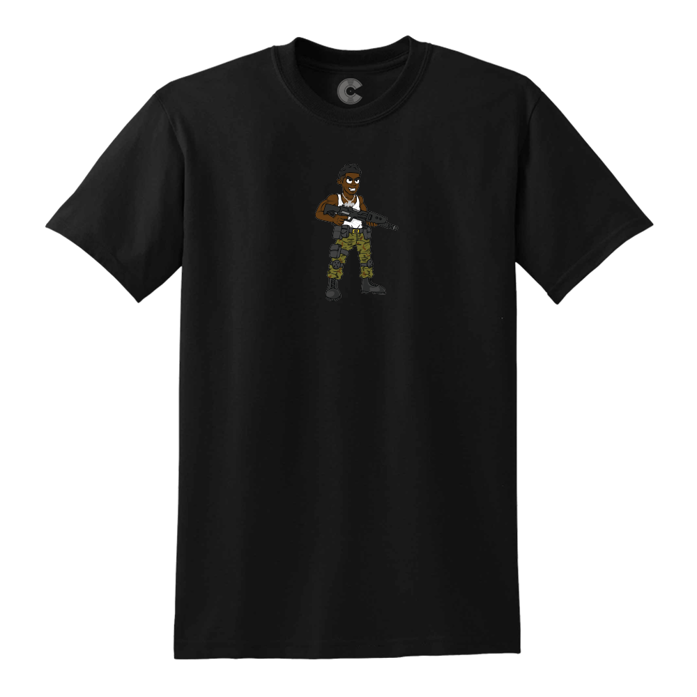 Cartoon Soldier Black Tee