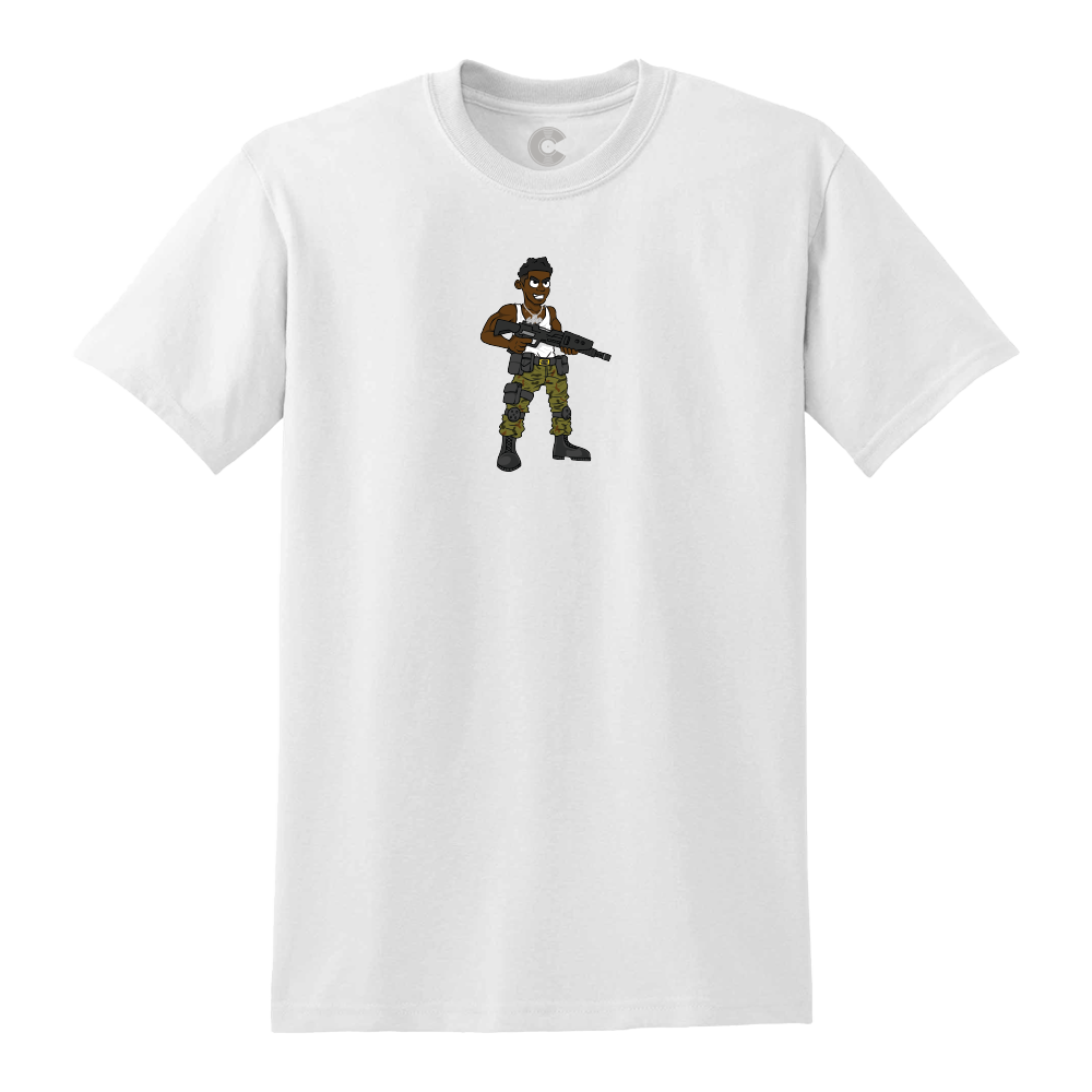 Cartoon Soldier White Tee