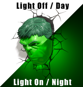 (3D Lights FX) 3D Wall Lamp Marvel Avengers - Hulk Head Only