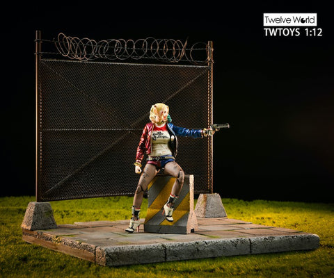 Image of (TWTOYS) (Pre-Order) TW2028 1/12 Cement floor & metal fence with barbed wire diorama - Deposit Only