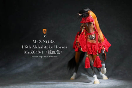 (MR.Z) (PRE-ORDER) Mr.Z MRZ048-1S 1/6 48 Akhal-teke Hourses+harness(Brown red) - DEPOSIT ONLY