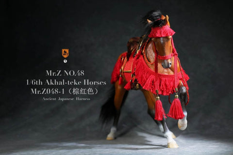 Image of (MR.Z) (PRE-ORDER) Mr.Z MRZ048-1S 1/6 48 Akhal-teke Hourses+harness(Brown red) - DEPOSIT ONLY