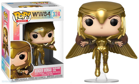 Image of (Funko Pop) Pop WW 1984 Wonder Woman Gold Armour Flying Pose with Free Protector