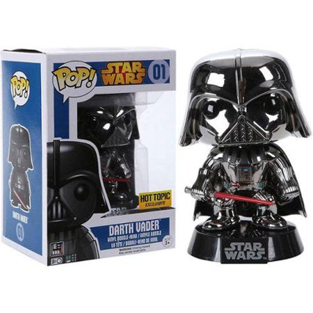 (Funko Pop) 01 Darth Vader - Silver Chrome Hot Topic Exclusive