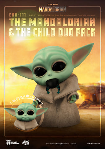(Beast Kingdom) (Pre-Order) The Mandalorian Egg Attack Action EAA-111 The Mandalorian & The Child Duo Pack  - Deposit Only