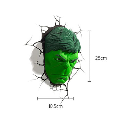 Image of (3D Lights FX) 3D Wall Lamp Marvel Avengers - Hulk Head Only