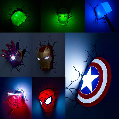(3D Lights FX) 3D Wall Lamp Marvel Avengers