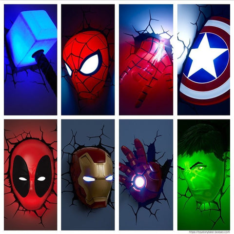 Image of (3D Lights FX) 3D Wall Lamp Marvel Avengers