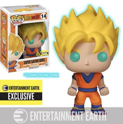 (Funko Pop) Dragon Ball Z Glow-in-the-Dark Super Saiyan Goku Pop! Vinyl Figure - Entertainment Earth Exclusive with Free Boss Protector