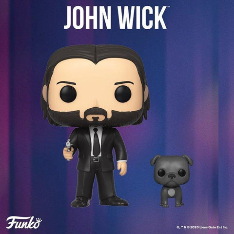 (Funko Pop) JOHN WICK IN BLACK SUIT W/ DOG BUDDY with Free Protector