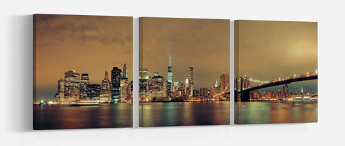 Manhattan with Brooklyn Bridge at night canvas wall art leather print