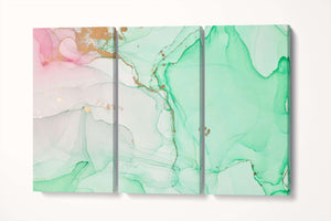 [Wall art] Abstract marble art green and pink