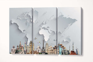 Wall art monument world map canvas