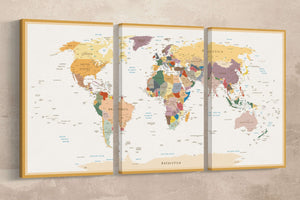 [Canvas wall art] - Push pin world map