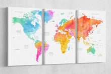 Load image into Gallery viewer, [Canvas wall art] - Three panel world map