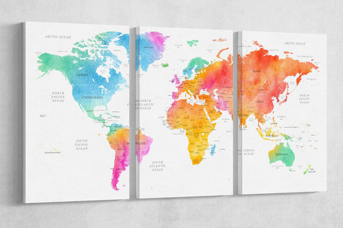 [Canvas wall art] - Three panel world map