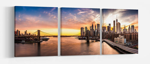 Brooklyn Bridge sunset Framed Canvas Leather Print