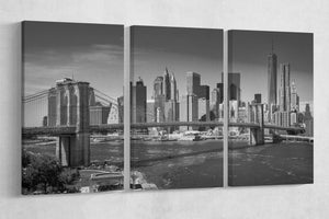 [canvas print] - Brooklyn Bridge black and white