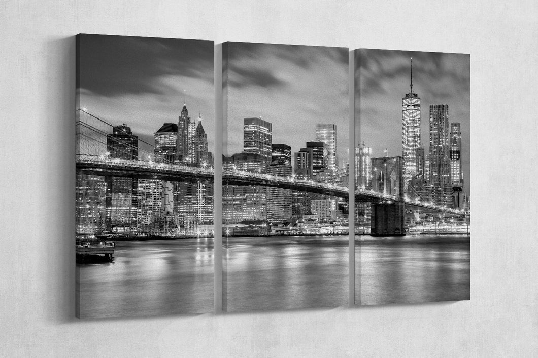[canvas home art] - Brooklyn Bridge black and white print
